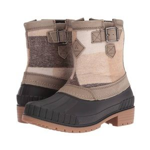 Kamik Avelle Duck Boots in Black w/ Beige Plaid